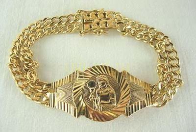 """Стильный мужской позолоченный браслет """"Мадонна"""""""